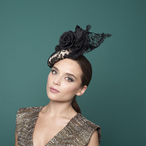 Montgenevre - Medium Lace Cocktail Hat with Rose