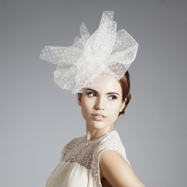 Gina Foster Millinery - Pearl - Spotted Tulle Fascinator