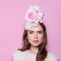 Gina Foster Millinery - Petunia - Medium Rose Cocktail Hat