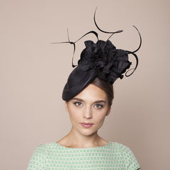 Gina Foster Millinery - Recco - Large Poppy & Feather Cocktail Hat