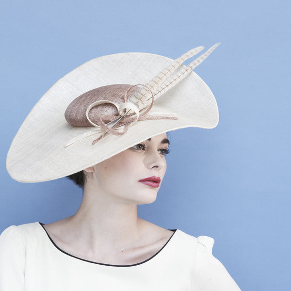 Gina Foster Millinery - Regent - Large Coulis Hat with Feathers