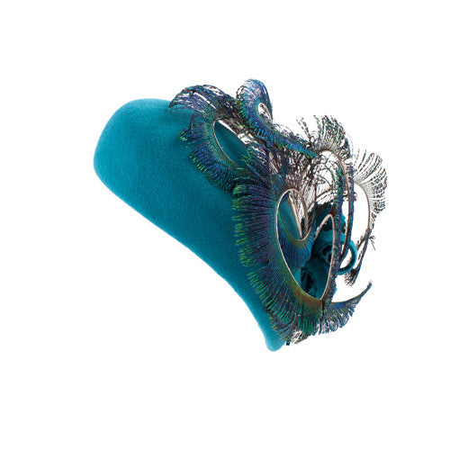 Val d'Isere - Felt Beret with Peacock Feather Trim