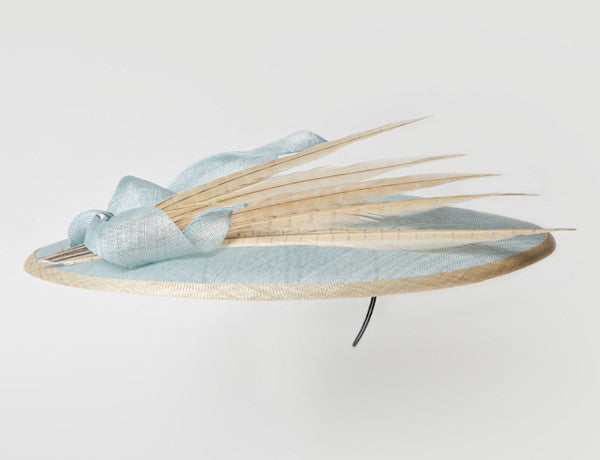 Gina Foster Millinery - Victoria - Large Coulis Hat with Feather & Bow Trim