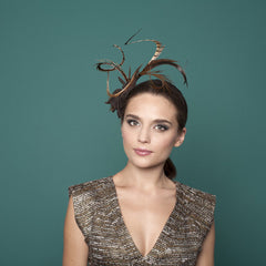 Avoriaz - Curled Pheasant Feather Fascinator