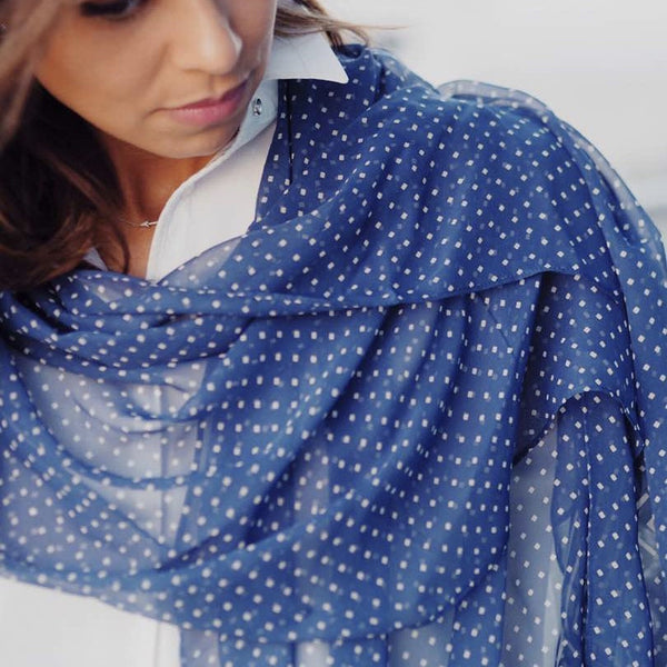 True Blue Dimonds and Diagnols | Silk Chiffon