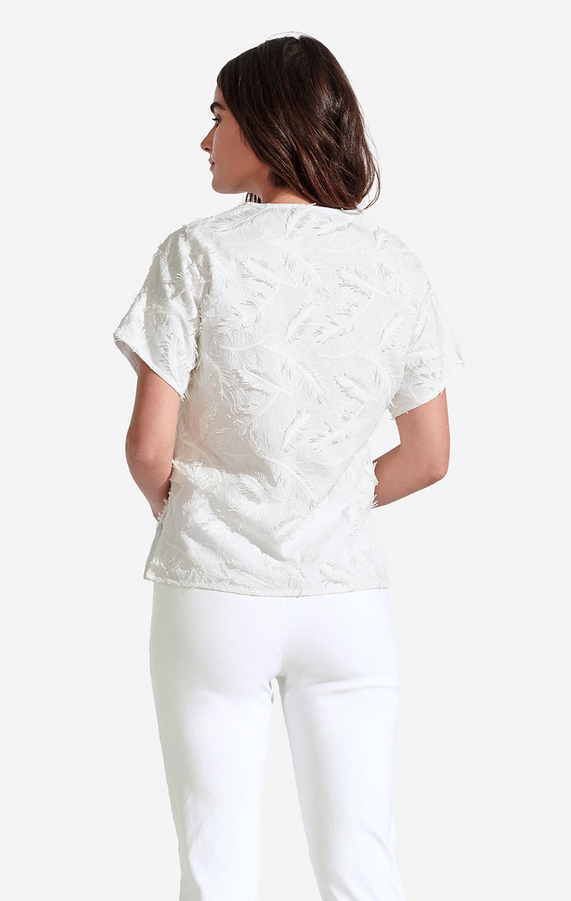 Beatrix Top Embroidered Leaf White