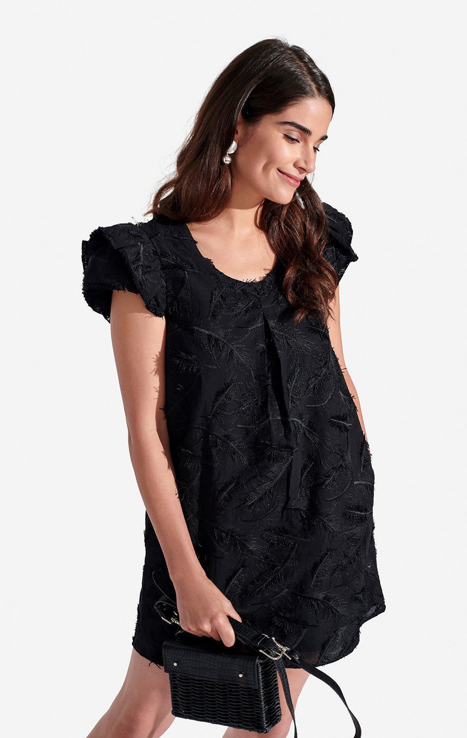 Clare Dress Embroidered Leaf