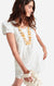 Clare Dress Embroidered Leaf White