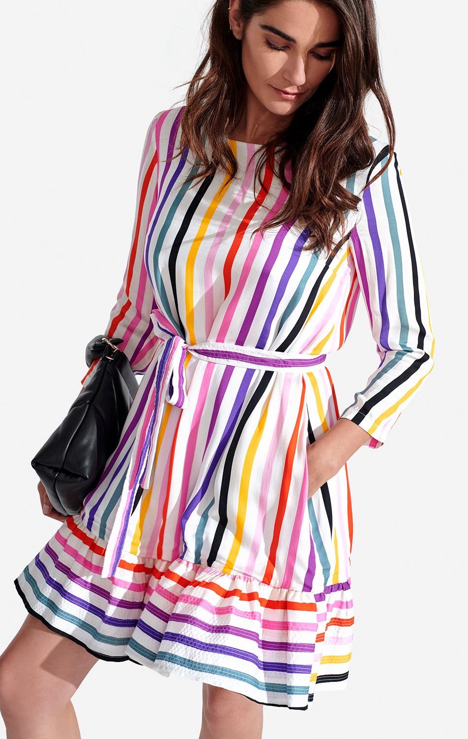Poppy Dress Rainbow Stripe