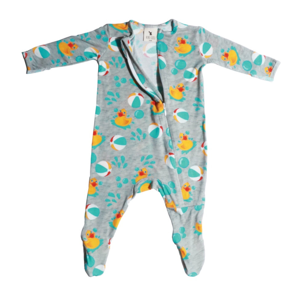 rubber ducky zippered footie bamboo apparel front