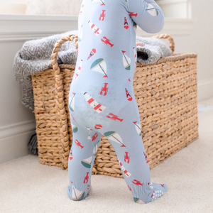 nautical zippered footie bamboo apparel featured on a baby3