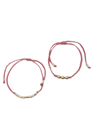 Braided Bracelet Set - Pink/Gold