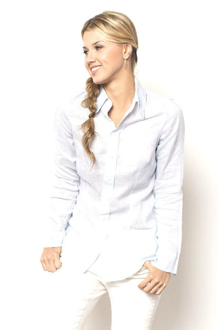 Marissa Linen Shirt - Whisper Blue