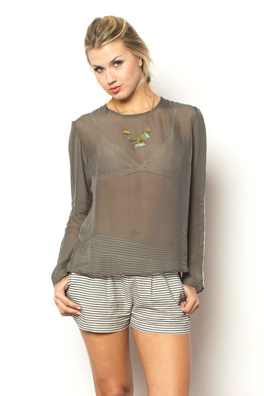 Austral Long Sleeve Blouse - Olive