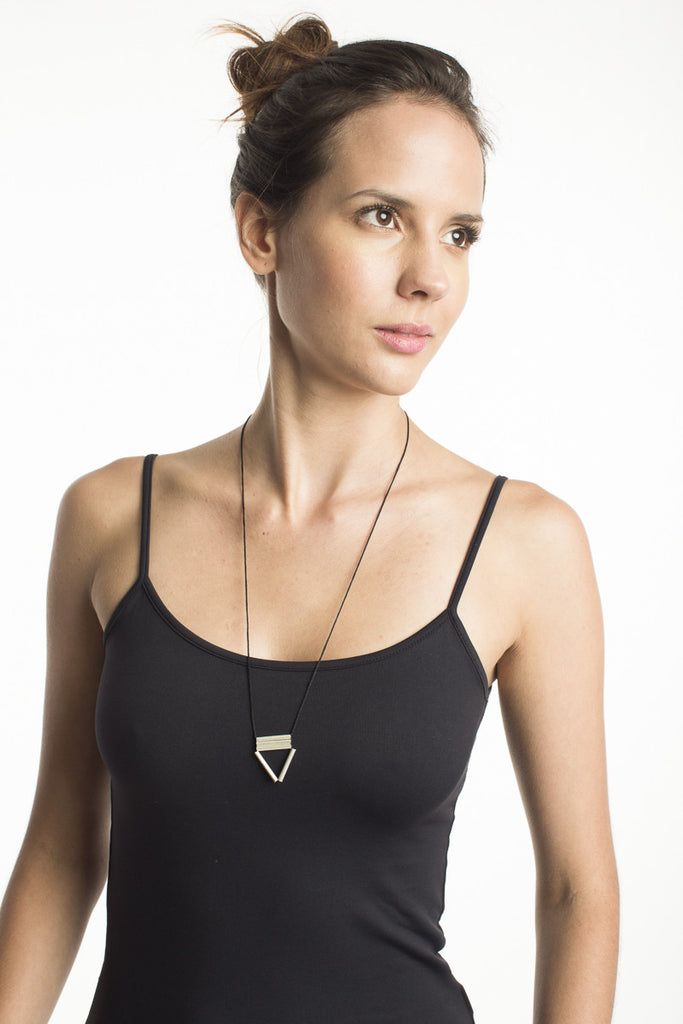Triangle Tube Necklace - Black