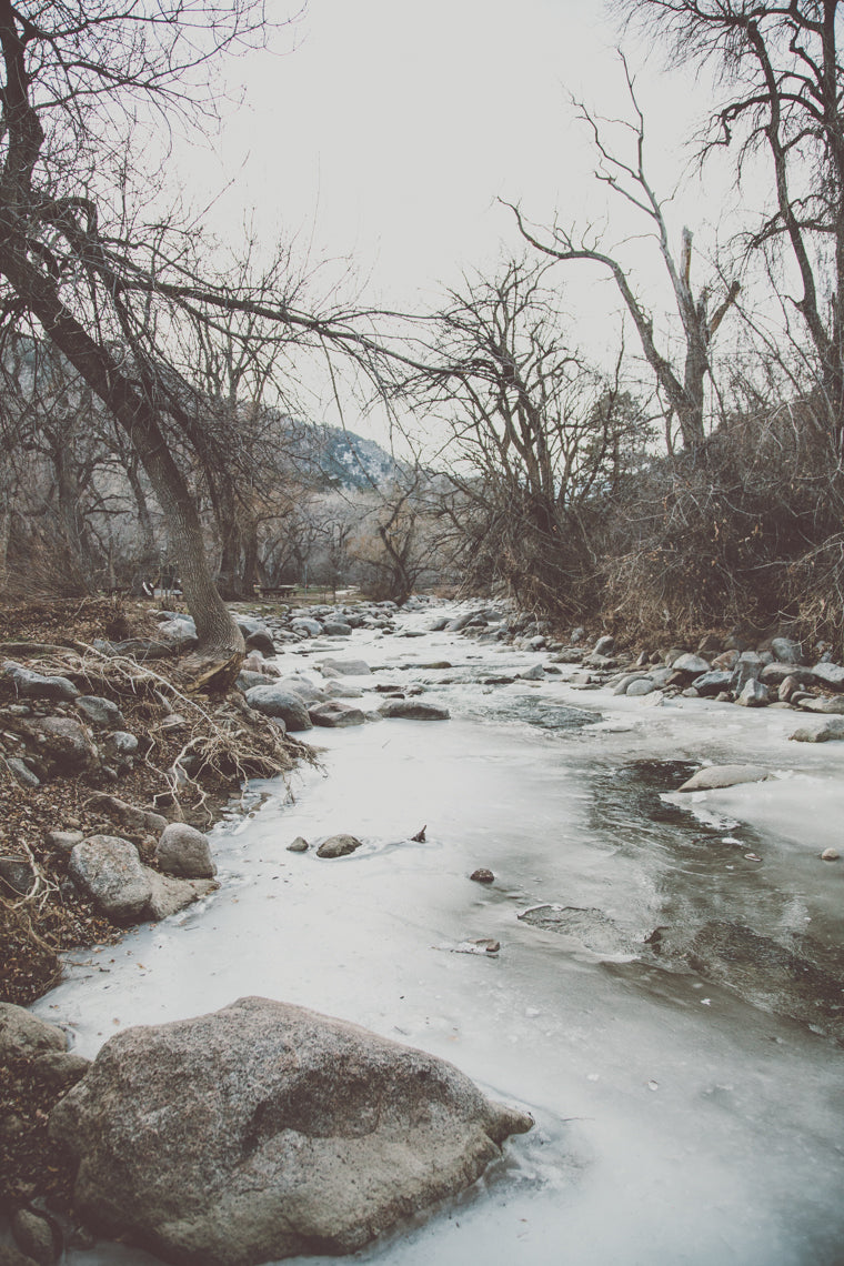 Photo of frozen water in Boulder Creek