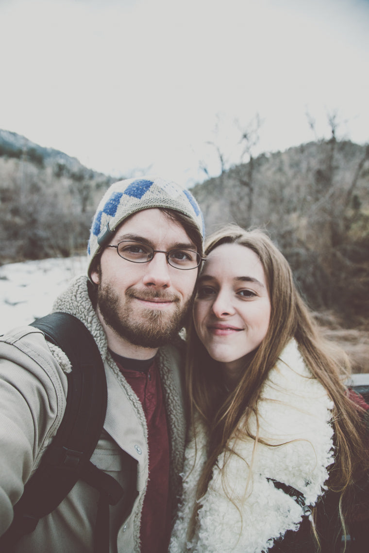Photo of couple in love in colorado winter