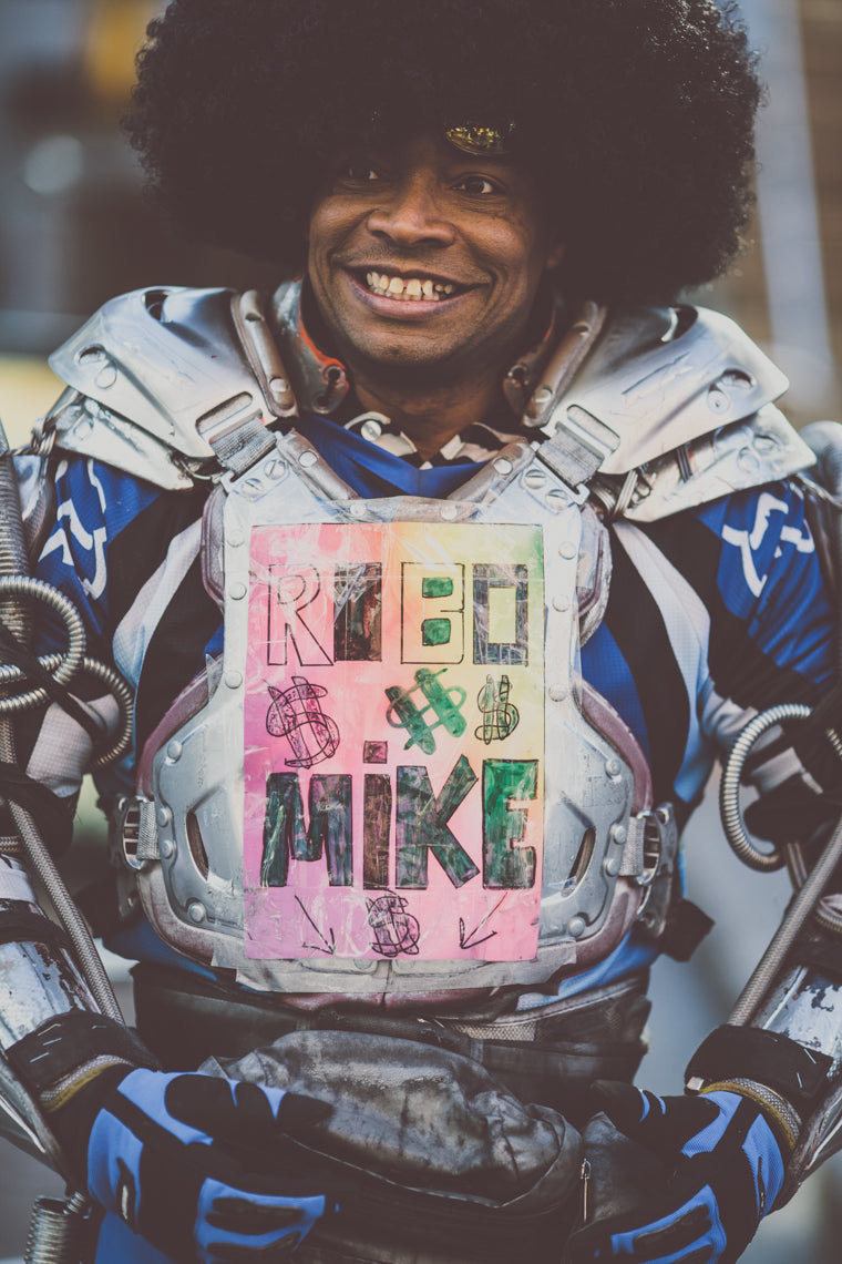 Photo of retro robot street performer in Denver
