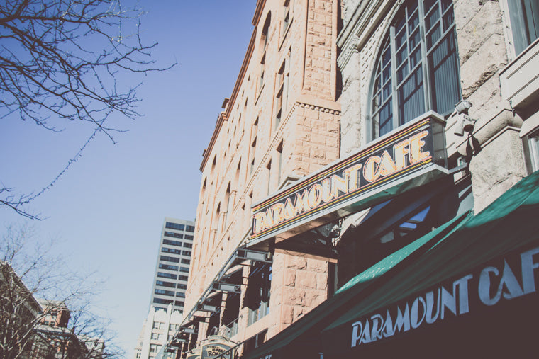 Photo of Paramount Cafe sign downtown Denver
