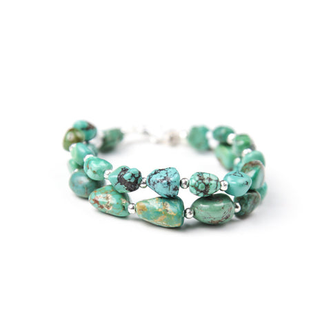 Bohemian bracelet with genuine turquoise beads by SoulMakes