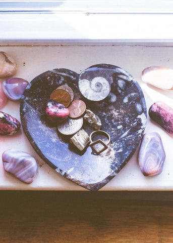 Heart shaped fossil catchall dish for coins and rings by SoulMakes
