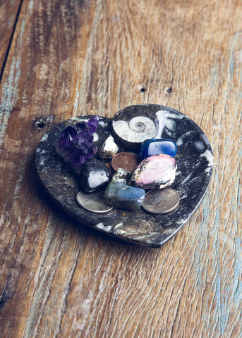 Heart shaped fossil stone catchall dish by SoulMakes