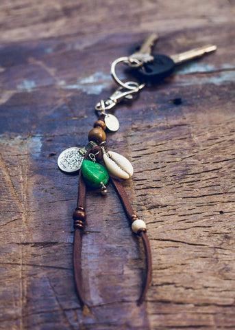 Bohemian charm keychain with green gemstone by SoulMakes