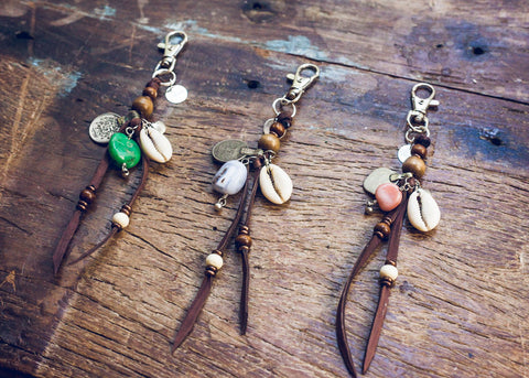 Bohemian charm keychains with gemstones by SoulMakes