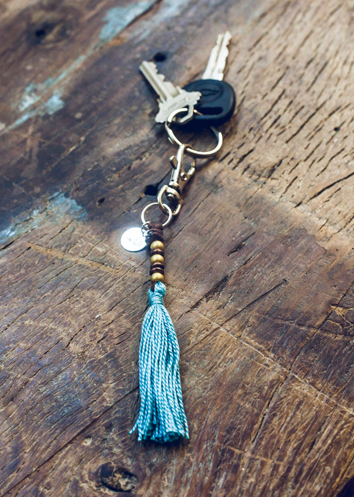 Unique blue tassel keychain by SoulMakes