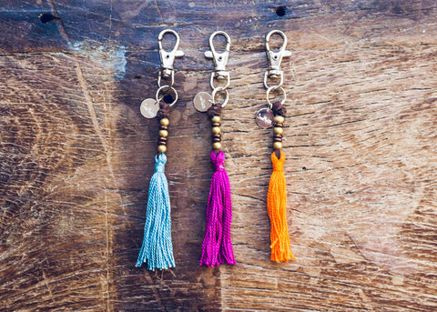 Unique blue, pink, and orange tassel keychains by SoulMakes