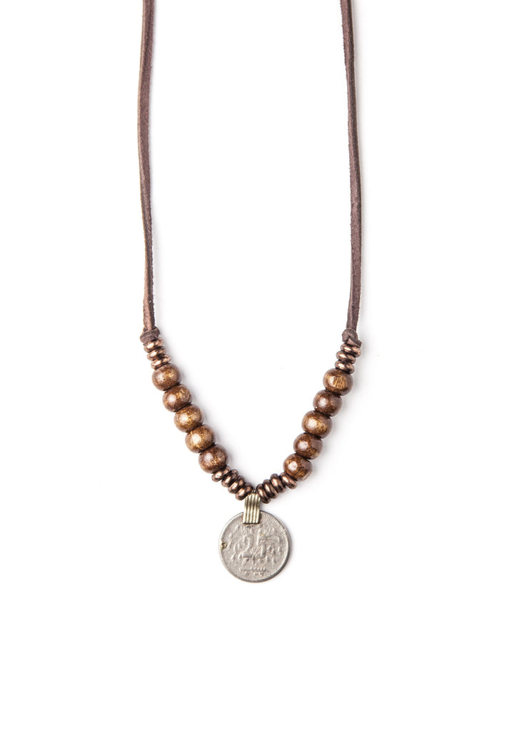 Simple wood bead coin necklace by SoulMakes