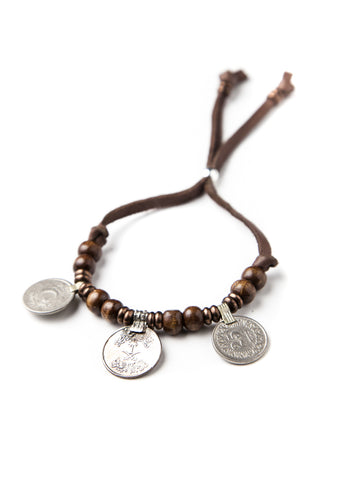 Wood bead bracelet with antique coins by SoulMakes