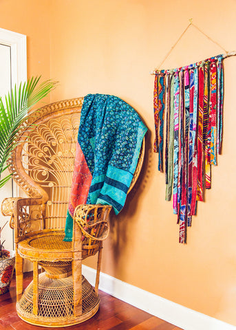 Large kantha fringe wall hanging in bohemian home by SoulMakes
