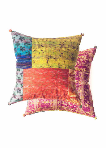 Silk kantha patchwork throw pillow by SoulMakes