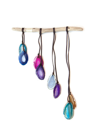 Mixed color agate crystal wall hanging windchime by SoulMakes