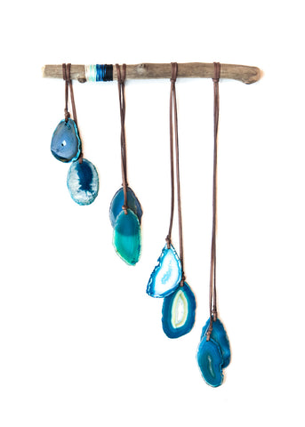 Blue agate crystal wall hanging windchime by SoulMakes