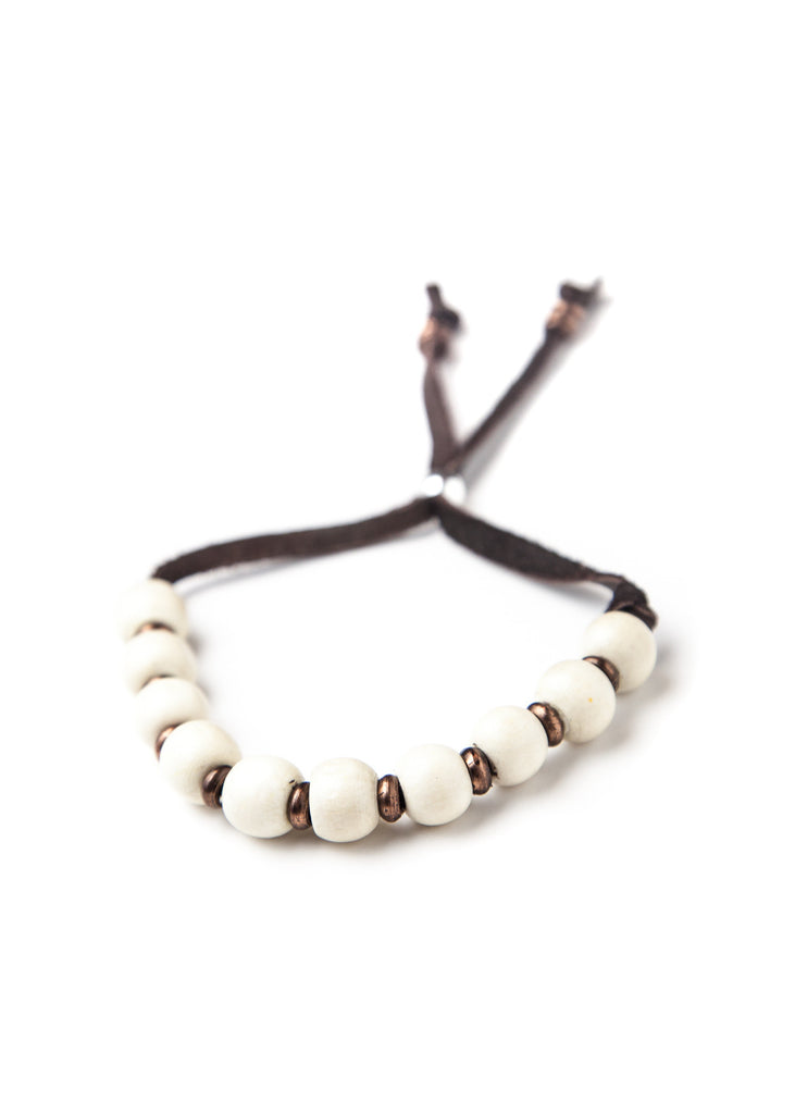 Simple white wood bead bracelet by SoulMakes