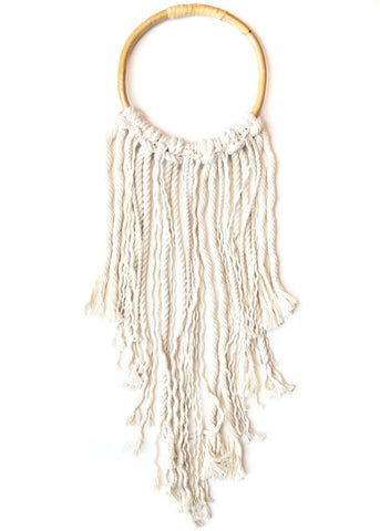 Rattan hoop with rope fringe wall decor by SoulMakes