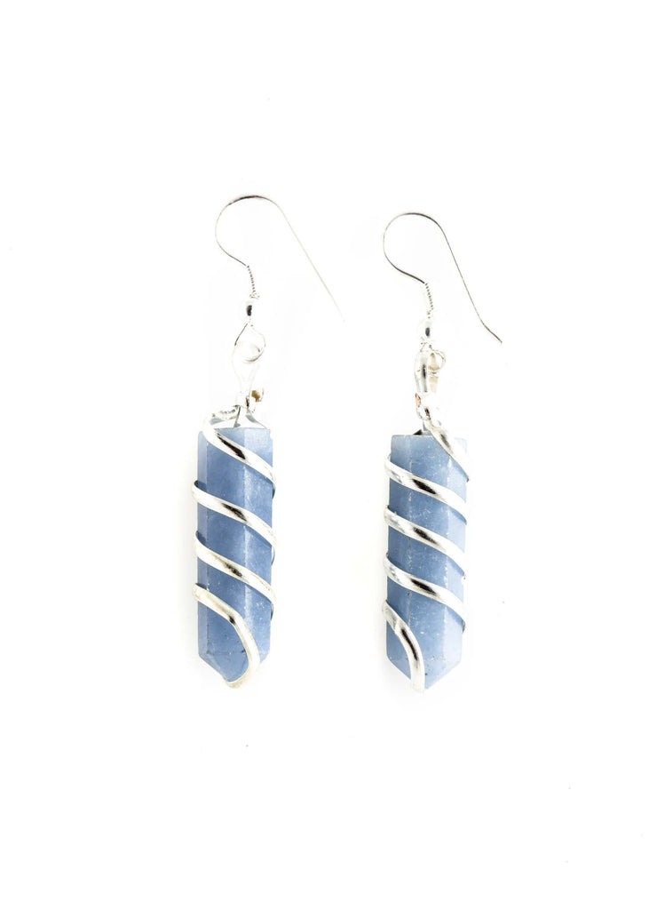 Angelite Point Wrapped Earrings