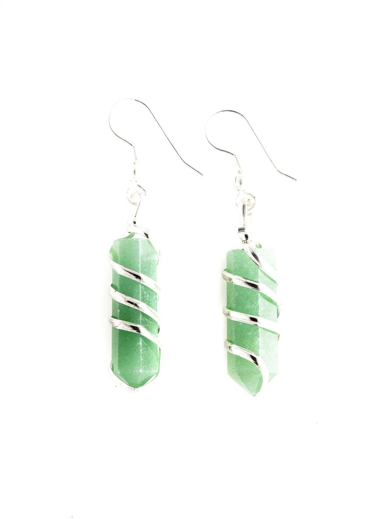 Aventurine Point Wrapped Earrings
