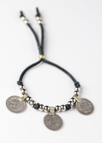 Image of black leather tribal antique coin bracelet by SoulMakes