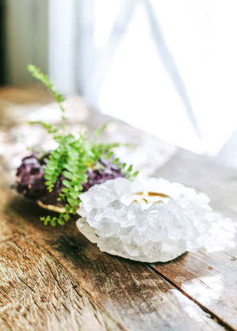 Clear Quartz Lotus Candle Holder
