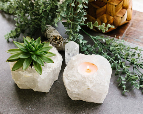 Rough Clear Quartz Candle Holder