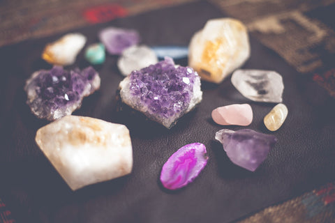 Collection of natural crystals and stones with amethyst cluster by SoulMakes