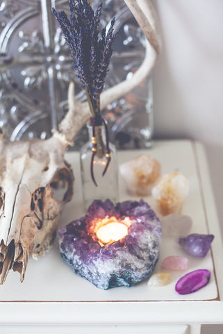 Amethyst cluster crystal tealight candle holder by SoulMakes