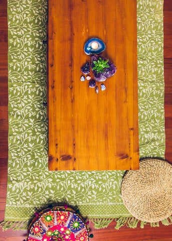 Green cotton area rug with fringe and vine print by SoulMakes