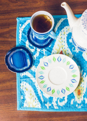 Blue Ikat kantha placemats by SoulMakes
