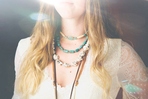 Image of bohemian girl wearing genuine turquoise necklace by SoulMakes