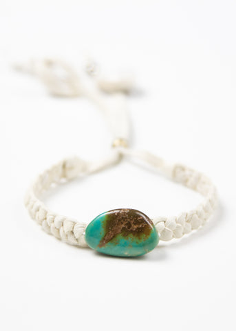 Image of braided white leather bracelet with large turquoise nugget by SoulMakes