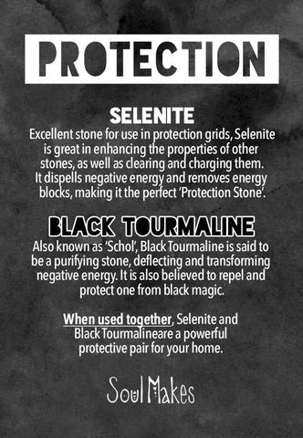 Protection crystals meanings information card by SoulMakes